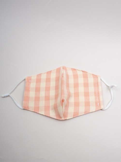 Gingham check cotton mask Pink