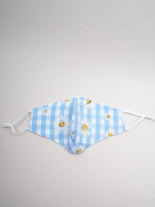 Mascarilla algodón margaritas + cuadro vichy Azul