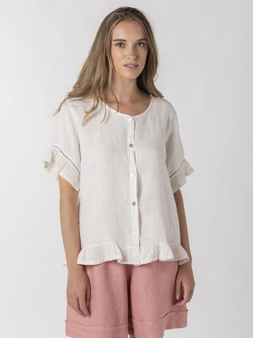 100% ruffled linen shirt Marfil