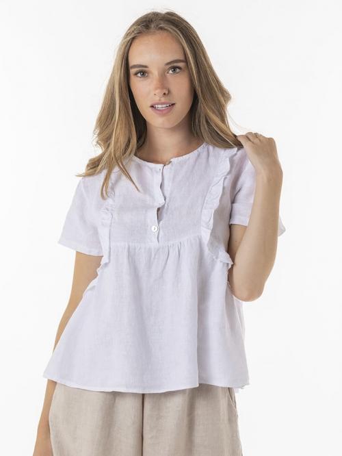 100% embroidered linen shirt White