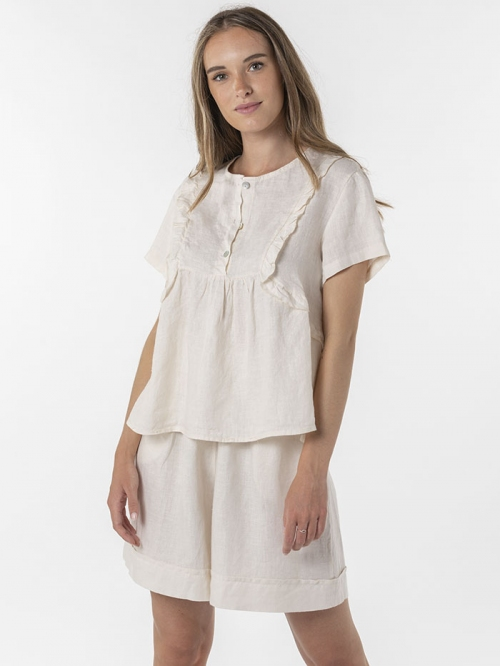 100% embroidered linen shirt Marfil