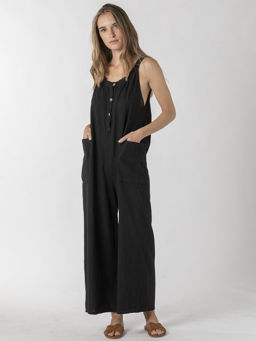 Linen jumpsuit with buttons and pockets Black