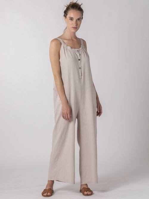 Linen jumpsuit with buttons and pockets Beige