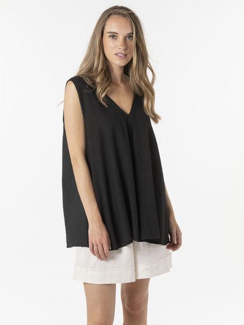 Oversize linen V-neck shirt Black