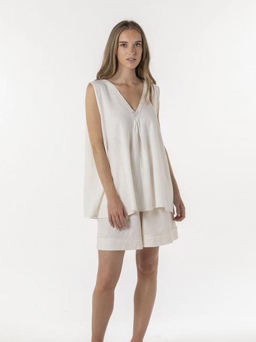 Oversize linen V-neck shirt Marfil