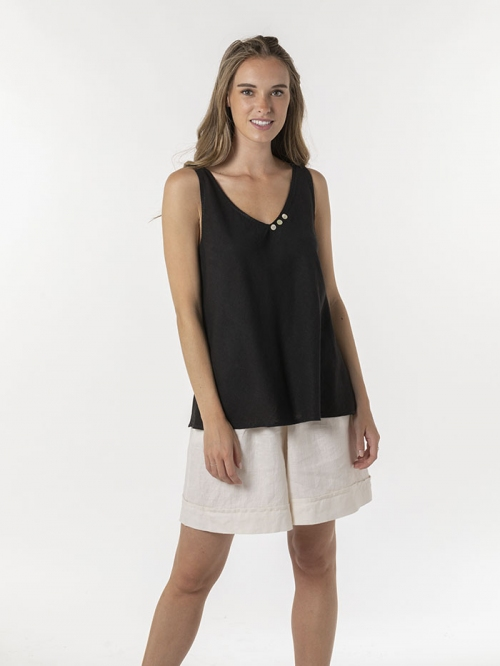 Basic linen top with straps Black