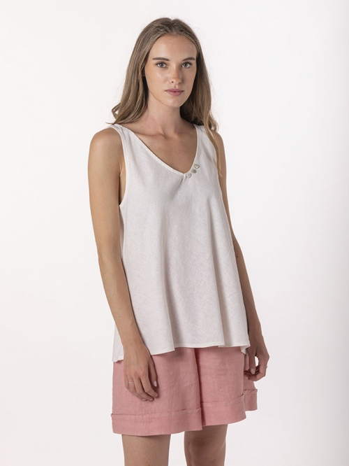 Basic linen top with straps Marfil