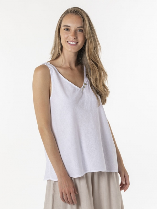 Basic linen top with straps White