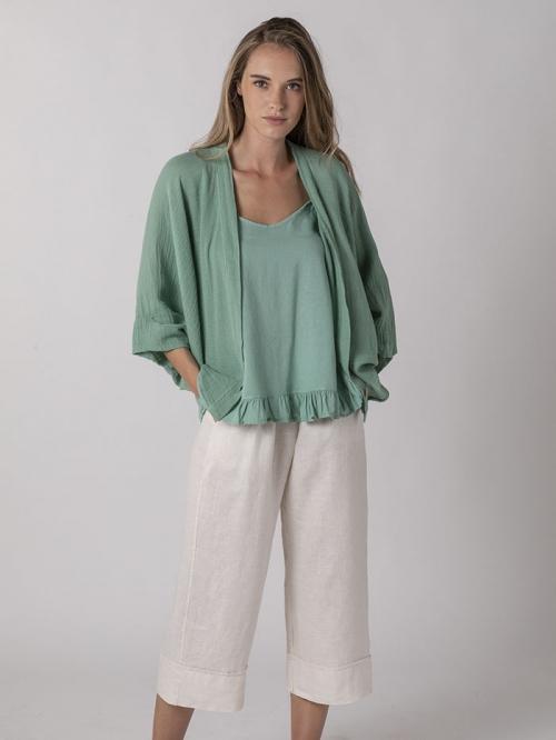 Women linen jacket Aqua