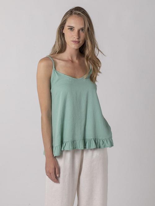 Linen top with straps Aqua