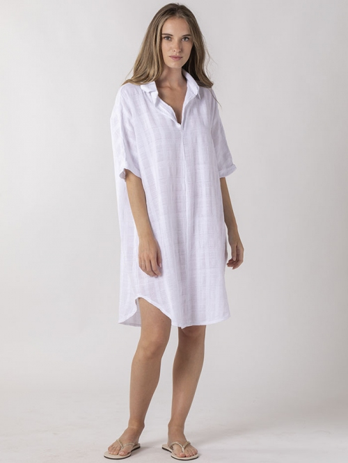 Vestido oversize cuello camisero Blanco
