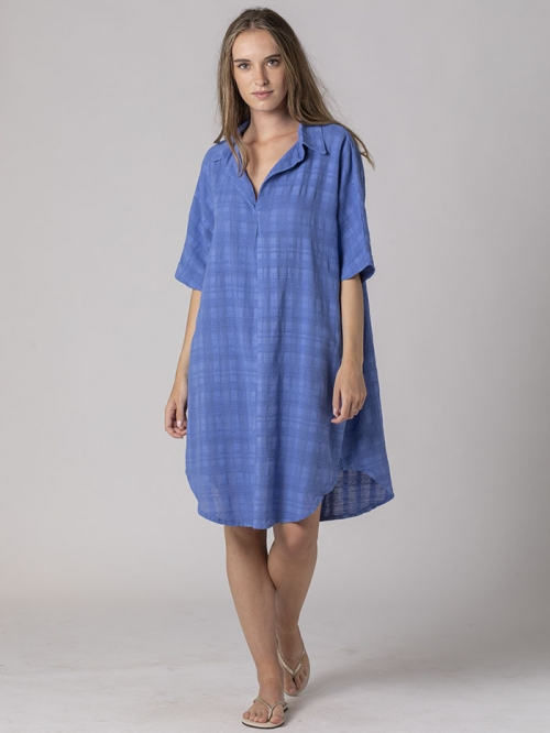 Oversized dress with shirt collar Blue