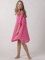 Oversized dress with shirt collar Pink
