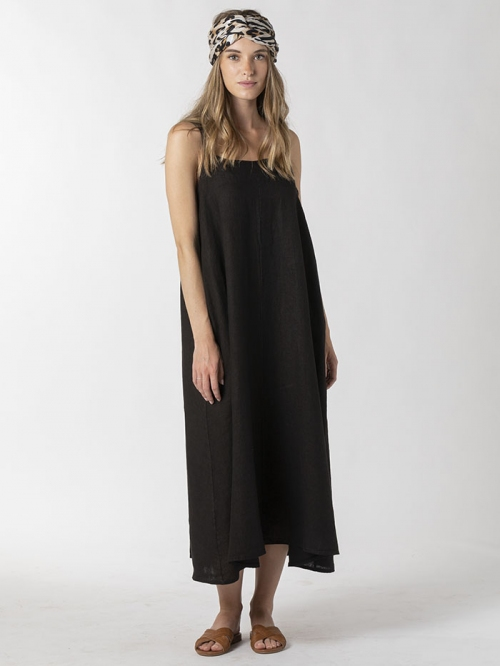 Long linen dress Black