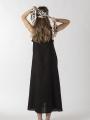 Long linen dress Black