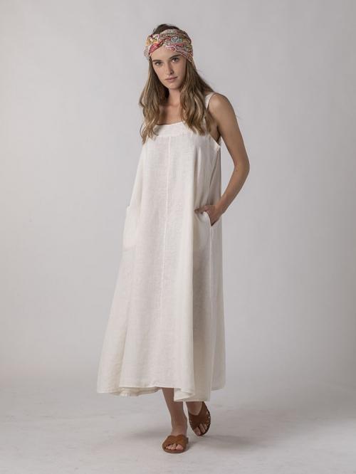 Vestido lino tirante largo Marfil