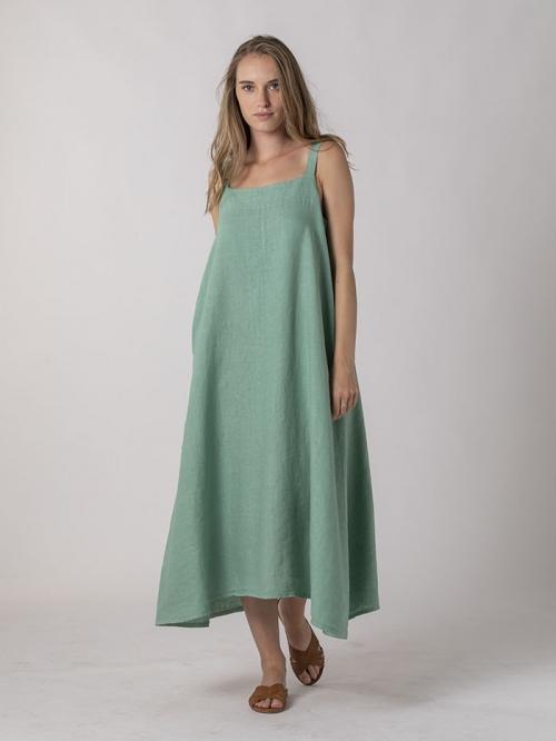 Vestido lino tirante largo Aqua