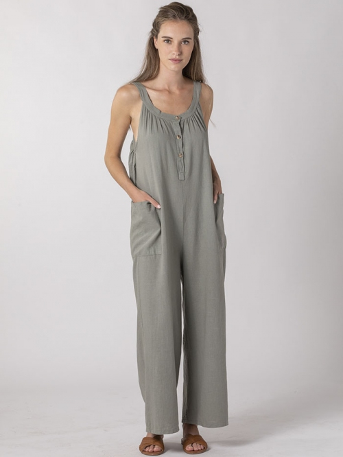 Linen jumpsuit with buttons and pockets Khaki