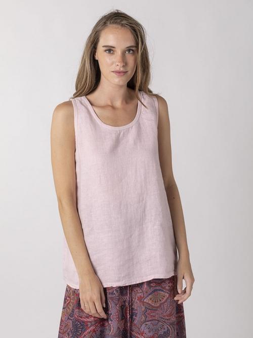 Front linen T-shirt Pink