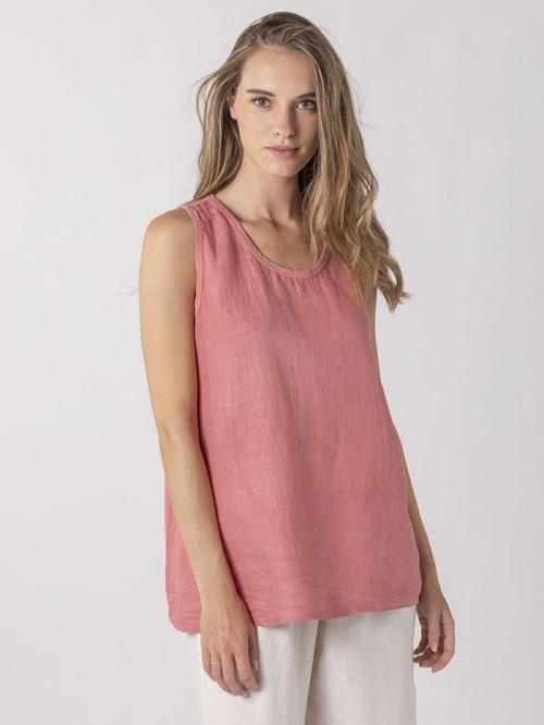 Front linen T-shirt Coral