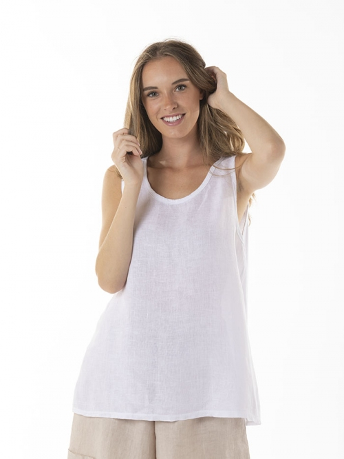 Front linen T-shirt White