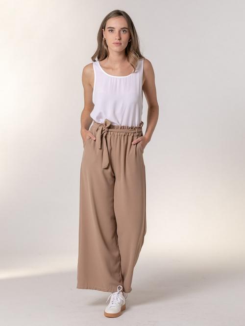Pantalón ancho goma cintura Camel