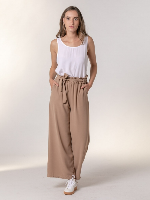 Wide elastic waist trousers Camel
