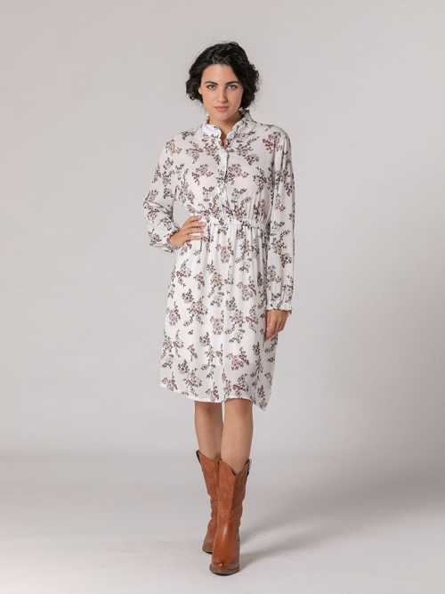 Ruffle mandarin collar print dress White