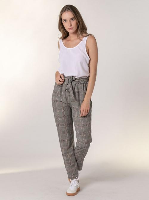 Pantalón cuadros goma cintura Negro