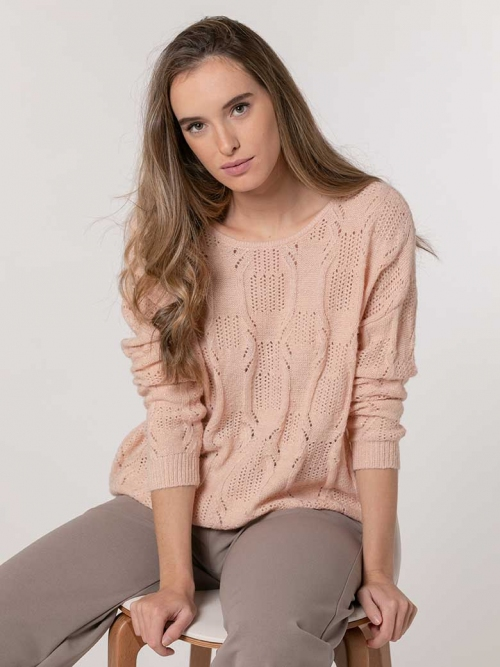 Knitted sweater with lurex Pink