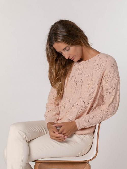Glitter knit sweater Pink
