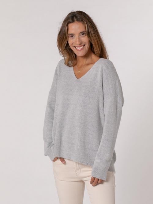 Oversized V-neck sweater Grey