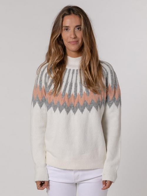 Soft jumper with border detail White