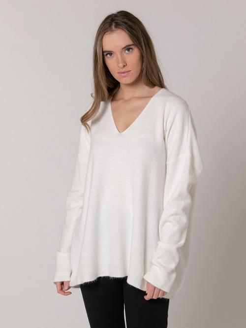Oversized V-neck sweater Marfil