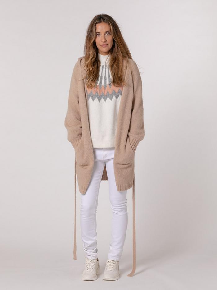 Chaquetón mujer punto capucha y cinturón Camel