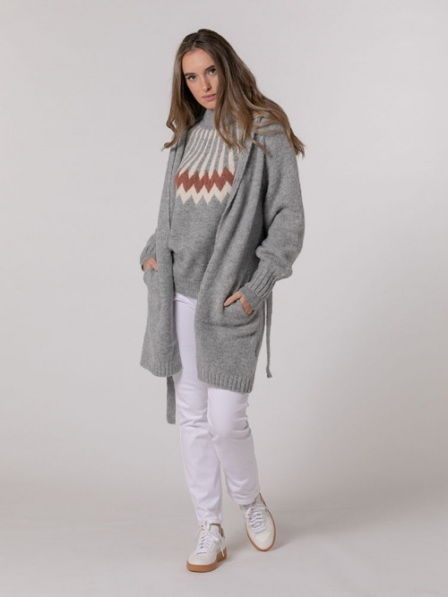 Knitted jacket with hood and belt Grey