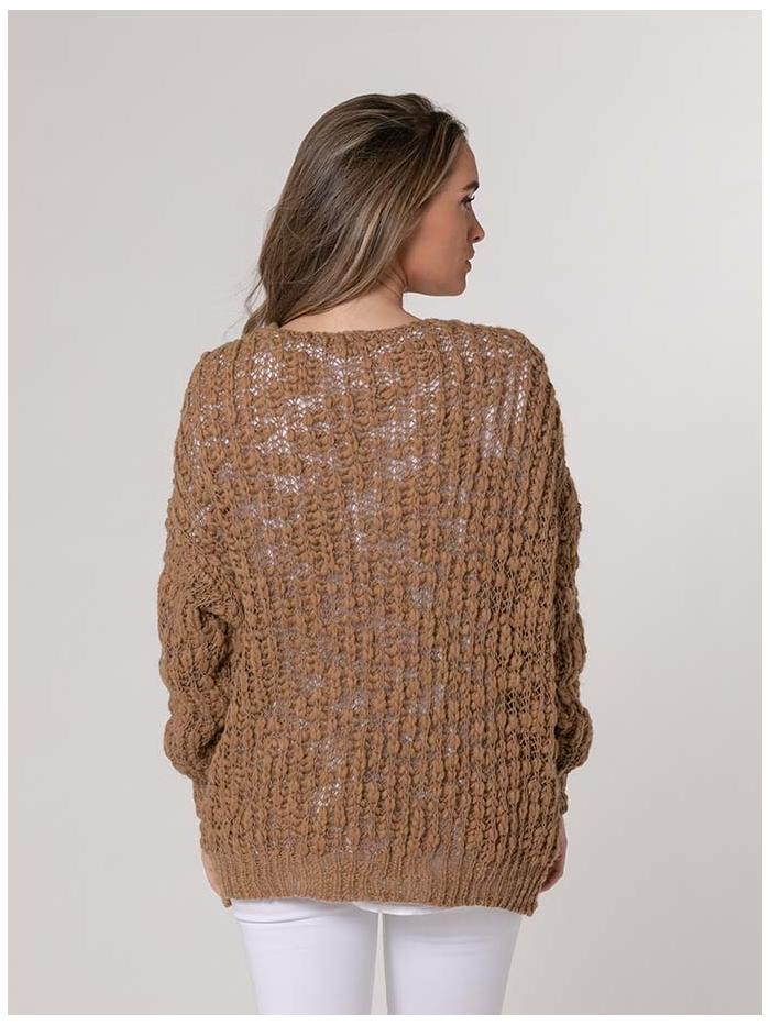 Chaqueta mujer de punto mujer oversize Camel
