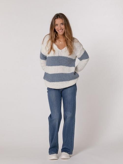 Striped knit sweater Blue