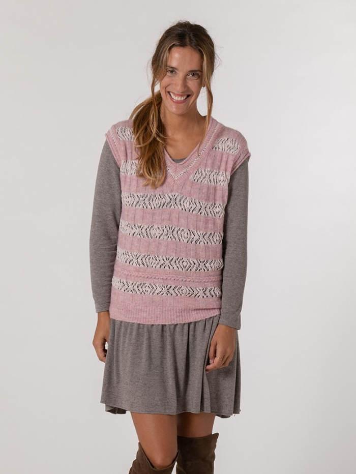 Woman Wool and cotton vest details Pink
