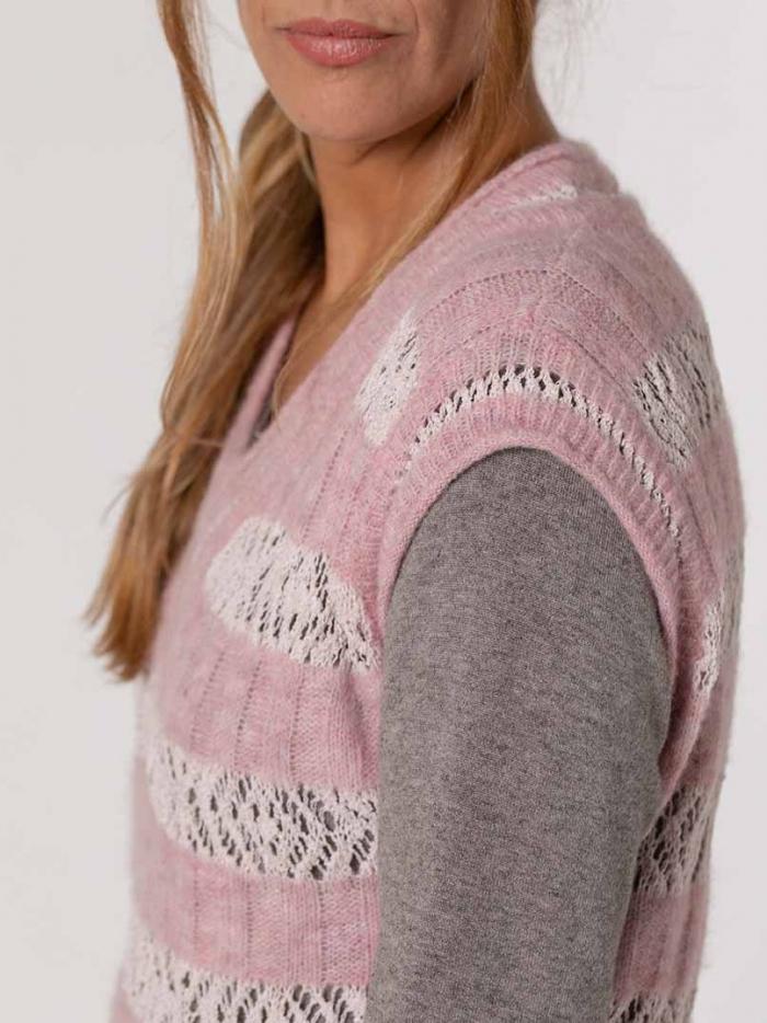 Chaleco lana mujer y algodón detalle Rosa