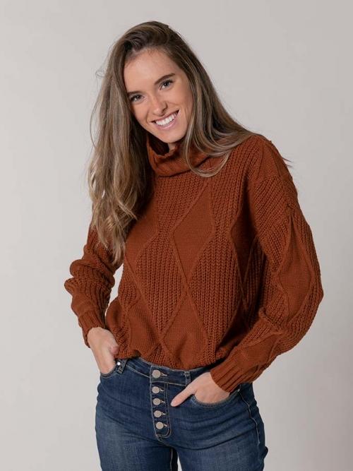 Rhombus print high neck sweater avellana