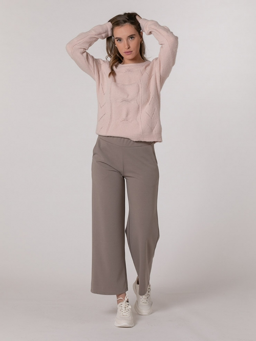 Wide stretch pants with pockets Stone