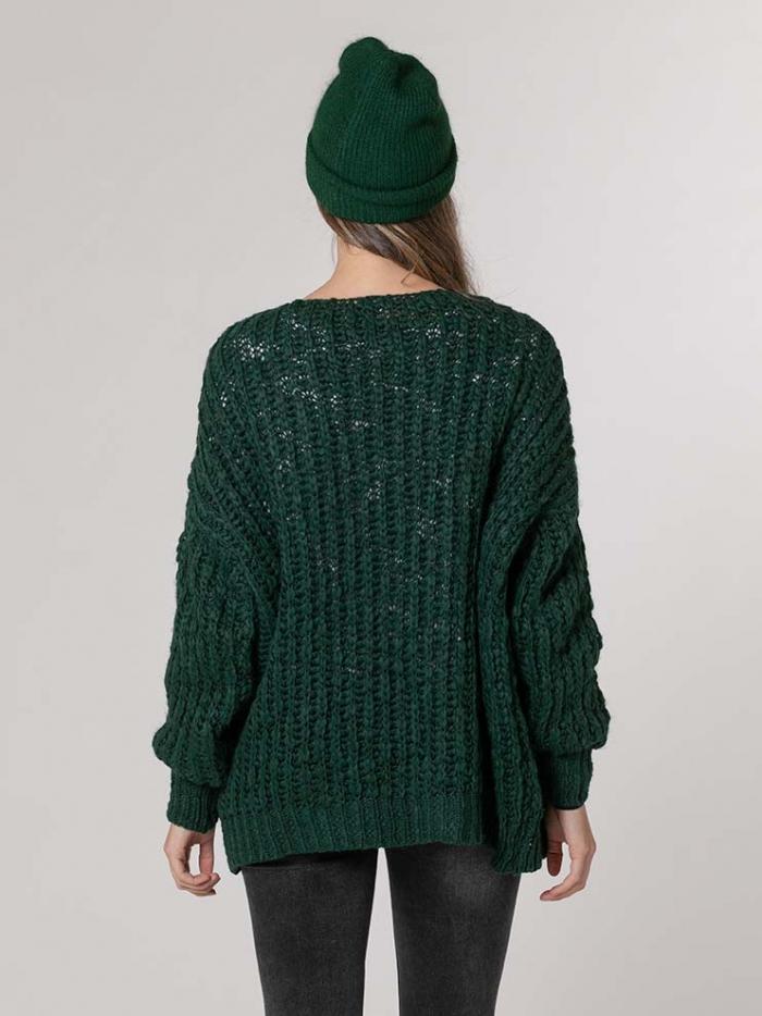 Chaqueta mujer de punto oversize Verde