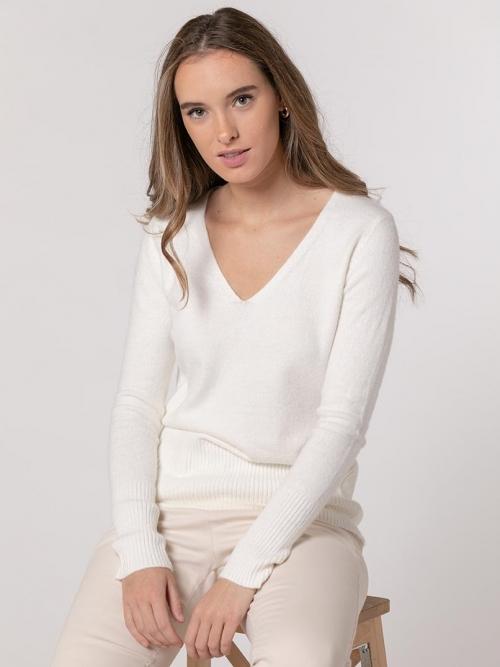 Soft cashmere like V-neck sweater Marfil