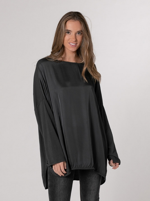 Oversized flowy satin t-shirt Grey