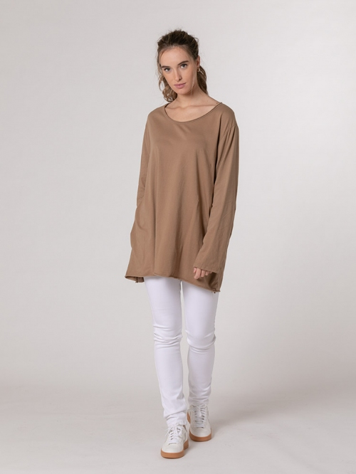 Oversized round neck cotton T-shirt Camel