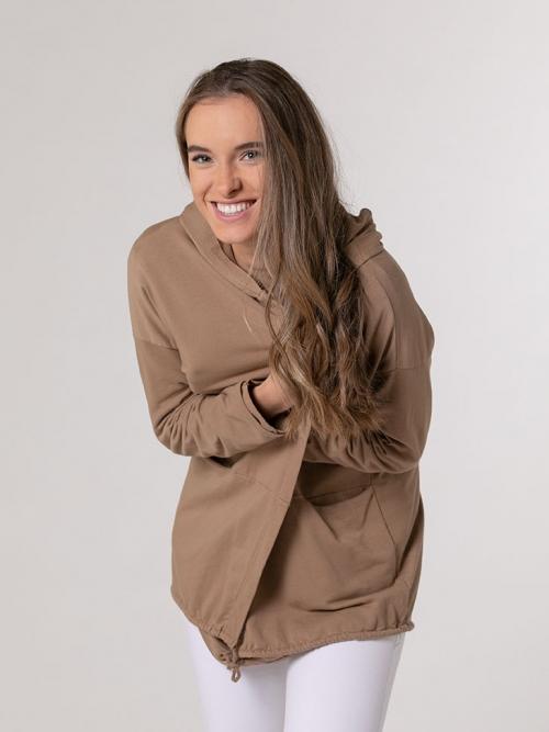 Chaqueta felpa con capucha Camel