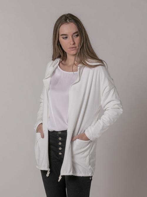 Chaqueta felpa con capucha Blanco