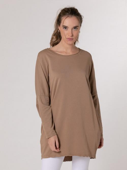 Sudadera oversize bolsillos mujer Camel