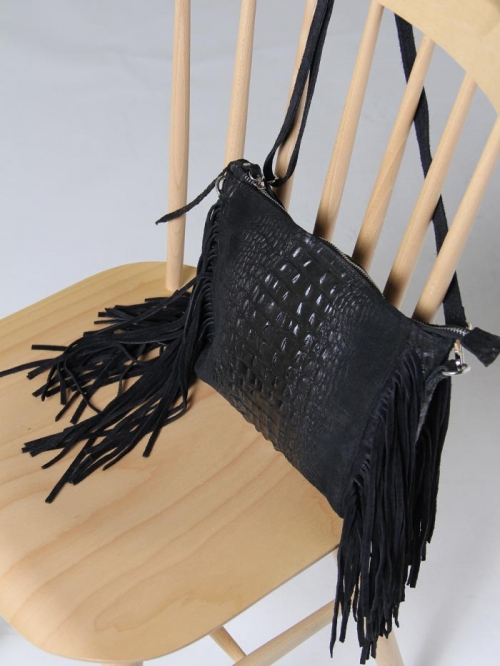 Coco leather bag and fringes Black